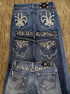 Lot Of 3 Embellished Studded Bootcut Straight Leg Miss Me Jeans Size 29 8 / 9