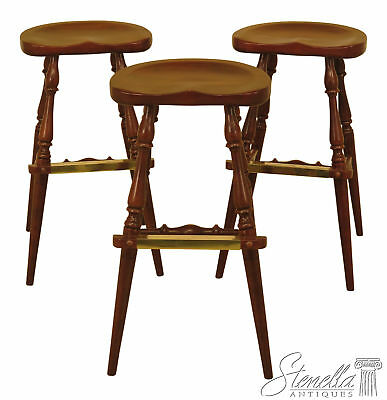 46274EC: Set Of 3 FREDERICK DUCKLOE Cherry Saddle Seat High Seat Bar Stools