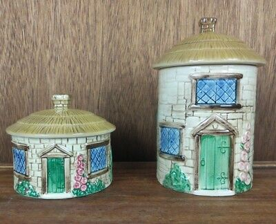 "Lot of 2 SylvaC Sylva Ceramics Biscuit / Cookie Jar Canisters ""Croft Cottage"""