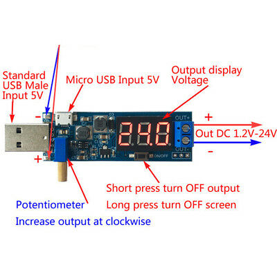 DC-DC USB Step UP/Down Power Supply Module Adjustable Boost Buck Converter Tool