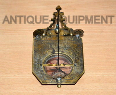 """Vintage Nautical Solid Brass Pendulum 4"""" Sundial and Compass Antique Finish Gift"""