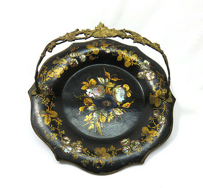 1850's Antique Victorian Paper Mache Brides Basket w/ Inlaid Mother of Pearl