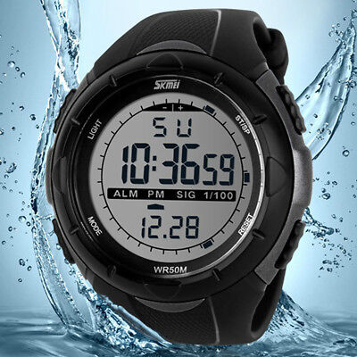 Mens Big Face LED Digital Sports Water Resistant Outdoor Military Wrist Watch US