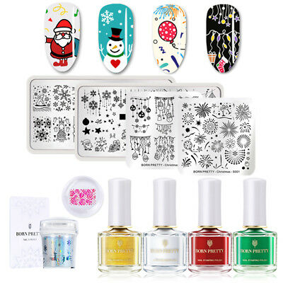 9pcs/set BORN PRETTY Christmas Nail Stamping Kit Stamp Polish Holo Stamper Kit