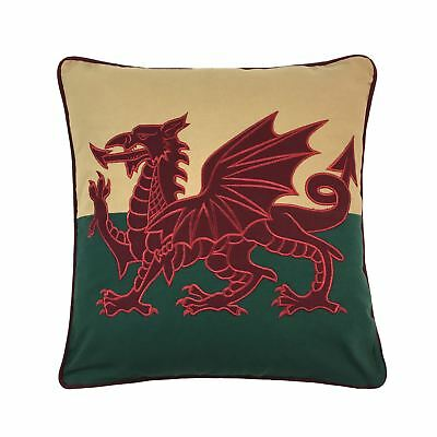 "Filled Patriotic Dragon Wales Flag Red Embroidered Woven Piped 18""-45Cm Cushion"