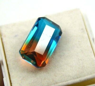 GGL Certified Ravishing 11.30 Ct Bi-Color/Multi-Color Tourmaline Emerald Cut Gem