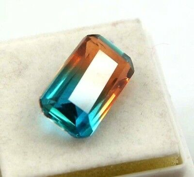 GGL Certified Ravishing 12.25 Ct Bi-Color/Multi-Color Tourmaline Emerald Cut Gem