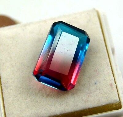 GGL Certified Ravishing 13.45 Ct Bi-Color/Multi-Color Tourmaline Emerald Cut Gem