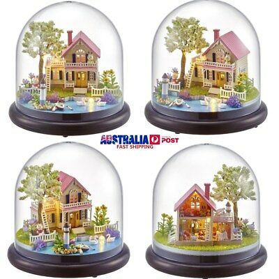 Xmas Gift DIY Small Music Doll House Miniature Kits Box With Dust Cover Kids Toy