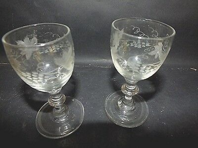 Outstanding Pair of Late 18th C Cordial Glasses w Etched Decoration c1790