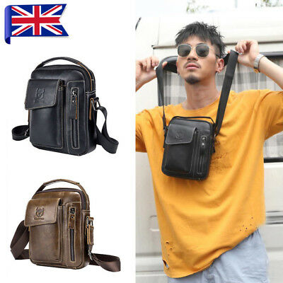 Men Bullcaptain Genuine Leather Business Messenger Bag Vintage Crossbody Bag