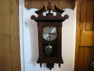 Antique H.a.c. Timepiece In Oak, Very Good Working Order.