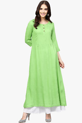Indian Women's Rayon Straight Fit Long Kurta Casual Wear Cotton Kurti