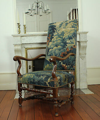 Large 17th Century French Antique Aubusson Tapestry Arm Chair