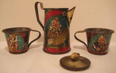"Antique Victorian Tin Toy 4 Pc Tea Set w Evil Musical Clowns 3"" Pot 2 Cups 1890s"