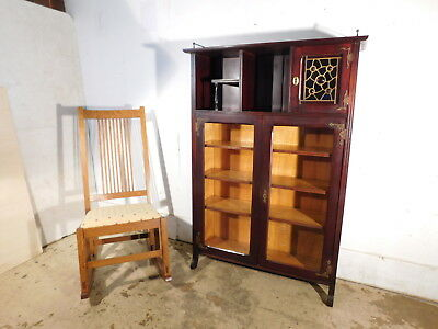 Antique 1910 Victorian Arts Crafts Stained Jeweled Glass Niche Mahogany Bookcase