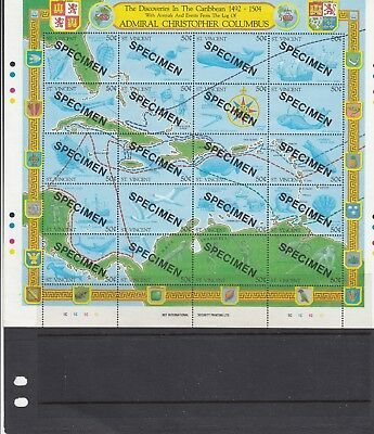 a113 - ST VINCENT - SG1305-1324 MNH 1989 MAP OF COLUMBUS TRAVELS - OVPT SPECIMEN