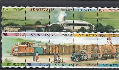 a109 - ST KITTS - SG227-236 MNH 1987 SUGAR CANE INDUSTRY
