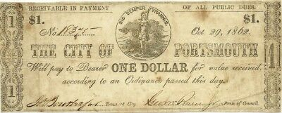 1862 City Of Portsmouth Virginia $1 Civil War Currency Note ~Sic Semper Tyrannis