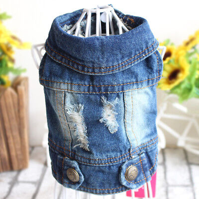 Small Dog Hoodie Vest Jean Jacket Blue Soft Denim Coat Clothes for Pet Cat Puppy