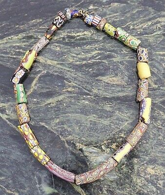Fine Antique West African 19Th C Ashanti Akan Venetian Glass Trade Bead Necklace