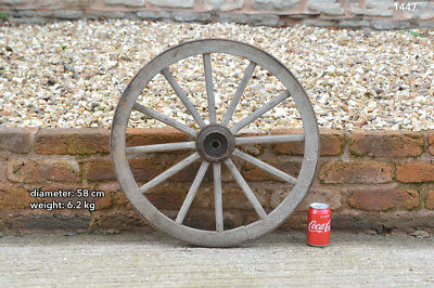 Vintage old wooden cart wagon wheel  / 58 cm / 6.2 kilo FREE DELIVERY