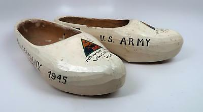 ww2 US wooden wood shoes trench art Holland carved Dutch handmade Army souvenir