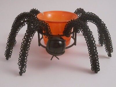 Halloween Metal & ORANGE Glass Spider Candle Holder EUC Wire Mable Head