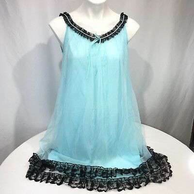 Vintage 60s SHEER CHIFFON Babydoll Nightgown Nylon Turquoise Black S