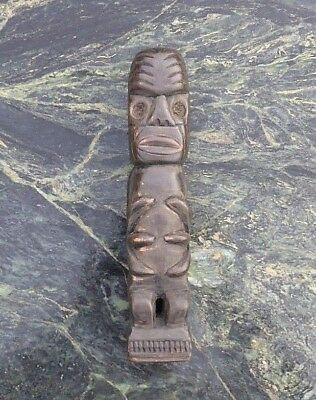 Nice Vintage South Pacific Polynesian New Zealand Carved Wooden Standing Tiki Nr