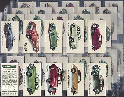 Kelloggs-Full Set- Motor Cars (Coloured 40 Cards) - Exc