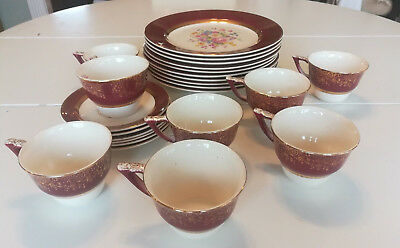 Vintage Century by Salem Aristocrat Maroon China Set 23 KT Gold Floral