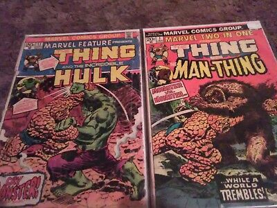 MARVEL TWO IN ONE#1 1974 + Marvel Feature #11 BRONZE AGE KEYS Marvel Comics Hulk