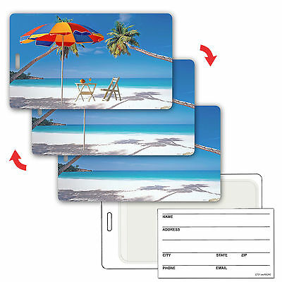 Animating Lenticular Luggage Bag Travel Tag Beach Palm Tree #LT01-204#