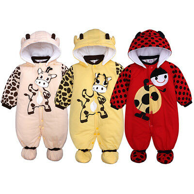 Newborn Baby Boys Girls Cartoon Hooded Thick Romper Jumpsuit Warm Clothes D9