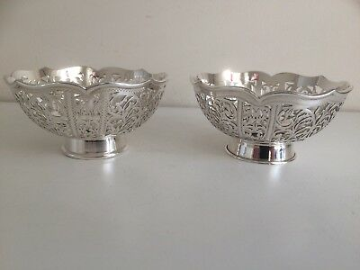 Pair of Fabulous Vintage Sterling Silver Bon Bon Dishes / Bowls - Sheffield 1999