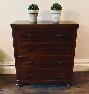 Antique Victorian Pine Mahogany veneer chest of drawers - 2 over 3