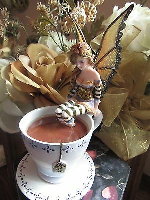 Amy Brown WARM TOES FAERY Fairy Figurine in a Tea Cup NEW IN BOX