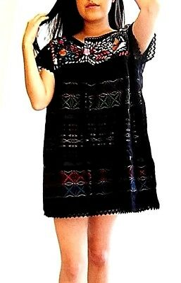Black Mexican short Dress/Blouse Hand Loom & Embroidered Peasant Cotton L/XL