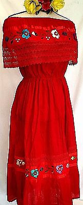 80e2eed2d5a Hand Embroidered Crochet Red Mexican Dress Floral Peasant Vintage Cotton  L XL