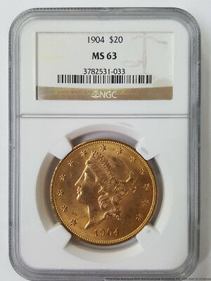 NGC MS63 1904 $20 Twenty Dollar American Coronet Double Eagle Gold Coin