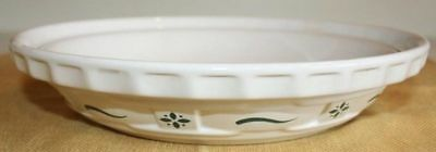 """LONGABERGER POTTERY 9"""" Deep Dish Pie Pan Baking PLATE Woven Green Traditions"""