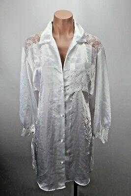LILY OF FRANCE VTG Womens Sleep Wear Shirt White Button Satin Lace Back Bridal