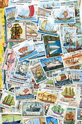 300  Different  Ship And Boat Stamps  - No Duplicates No Damaged Or Hinged!