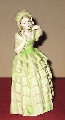 Art Deco Porcelain Lady Statue Bookend Repaired Condition