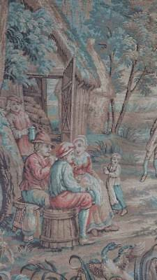 SUPERB LARGE ANTIQUE FRENCH CHATEAU TAPESTRY WALL HANGING c1880 HARVEST SCENE