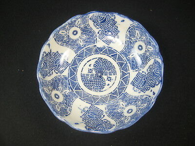 Antique Japanese 120 Yr Old Hand Stenciled Ceramic Dish Floral Nami Wave