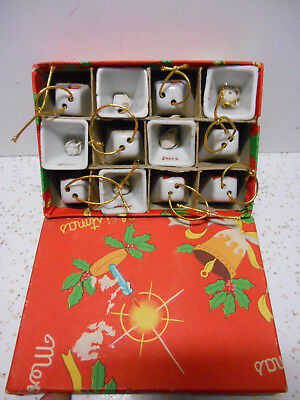 VTG 1940s Porcelain China Feather Tree Mini Christmas Bell Ornaments Boxed Japan