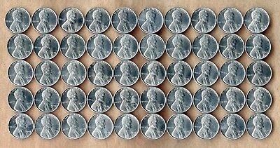 "1943 ~ Lincoln Wheat ""steel"" Cent Roll ~ Gem Bu ~ 50 Coins"