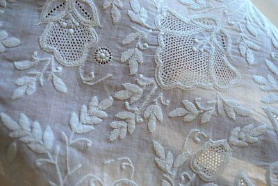 Early And Rare Hand Done Dresden Work Embroidery On Square Cloth